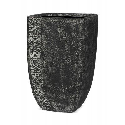 ТУЛУЗА, уличная ваза 37*34*55, чёрное серебро, с декоративным элементом