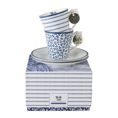 Набор кофейных пар эспрессо Laura Ashley Candy Stripe и Floris, 90мл
