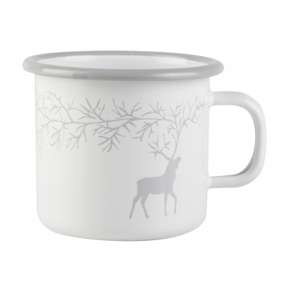 Reindeer Эмалированая кружка, 250 мл, белая, Северный олень