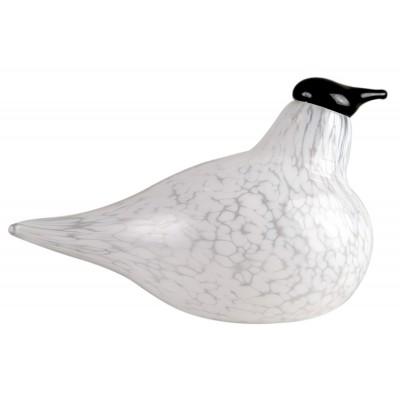 Glass Стеклянная птица, малая, бело-черная