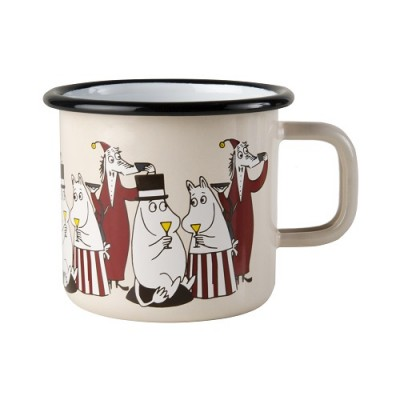 Moomin Кружка эмалированная Moomin Friends, 370 мл, Муми-мама, Муми-папа, Филифьонка