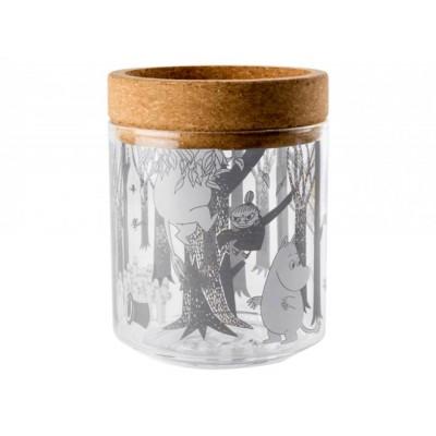 Moomin Емкость для хранения/ подсвечник 13 см, стекло/пробка , Forest